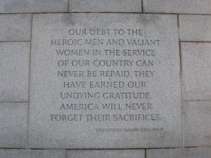 On the World War Two monument, Washington DC